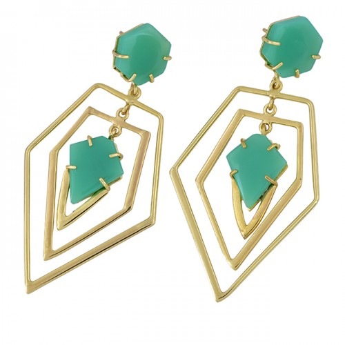 Prehnite Chalcedony Gemstone 925 Sterling Silver Gold Plated Earrings