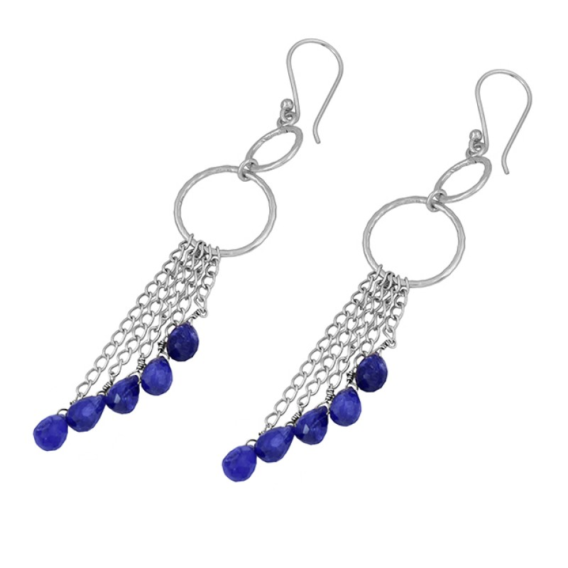 Pear Drops Sapphire Gemstone 925 Sterling Silver Gold Plated Dangle Earrings