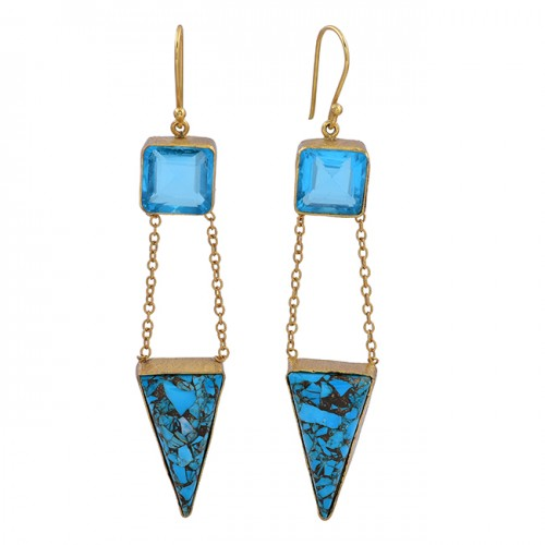 Blue Topaz Turquoise Gemstone 925 Sterling Silver Gold Plated Dangle Earrings