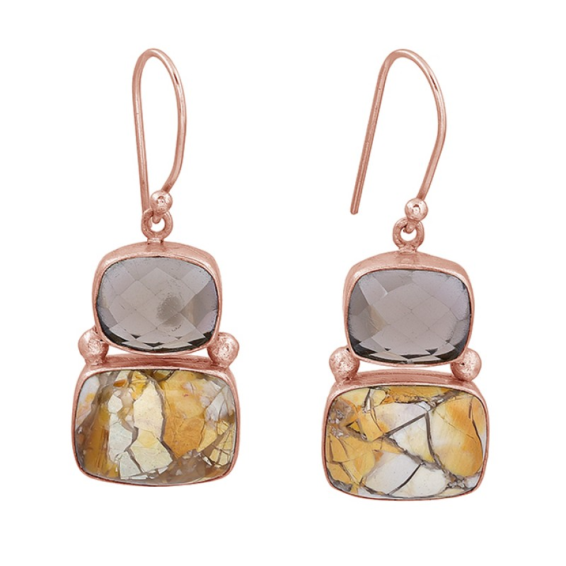 Smoky Quartz Breceted Mookite Gemstone 925 Sterling Silver Gold Plated Earrings
