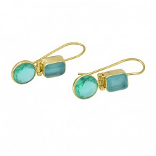 Apatite Chalcedony Gemstone 925 Sterling Silver Gold Plated Fixed Ear Wire Earrings
