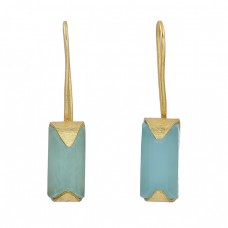 Aqua Chalcedony Gemstone 925 Sterling Silver Gold Plated Fixed Ear Wire Earrings