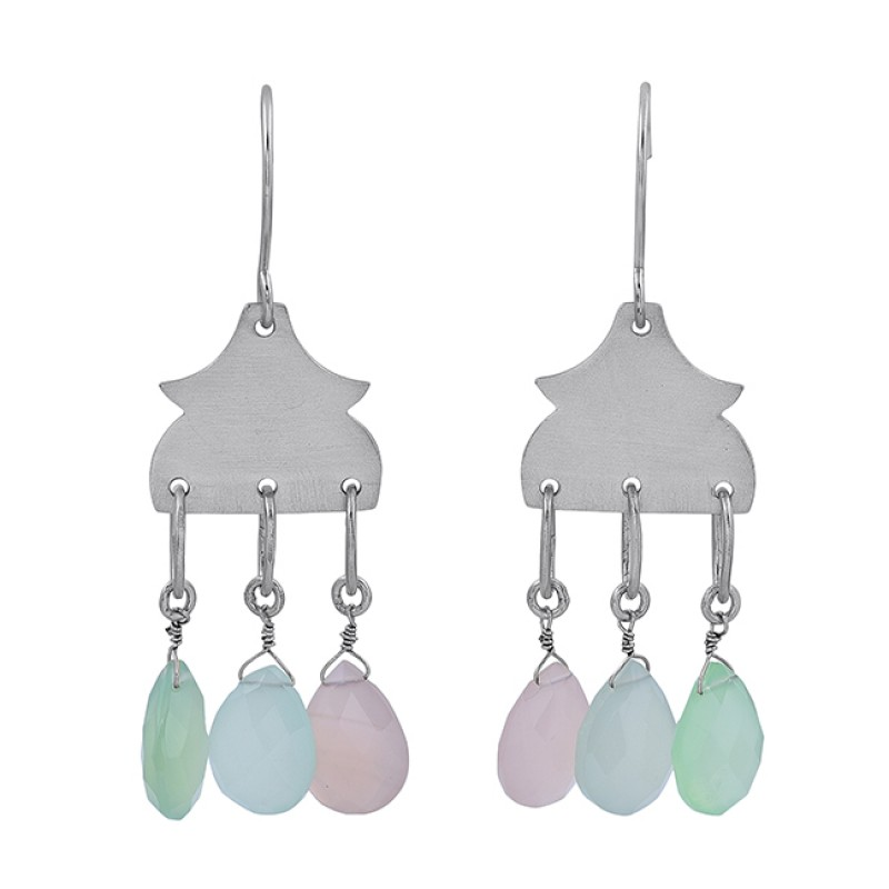 Pear Drops Shape Chalcedony Gemstone 925 Sterling Silver Gold Plated Earrings