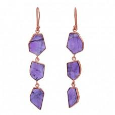 925 Sterling Silver Amethyst Fancy Shape Gemstone Gold Plated Dangle Earrings