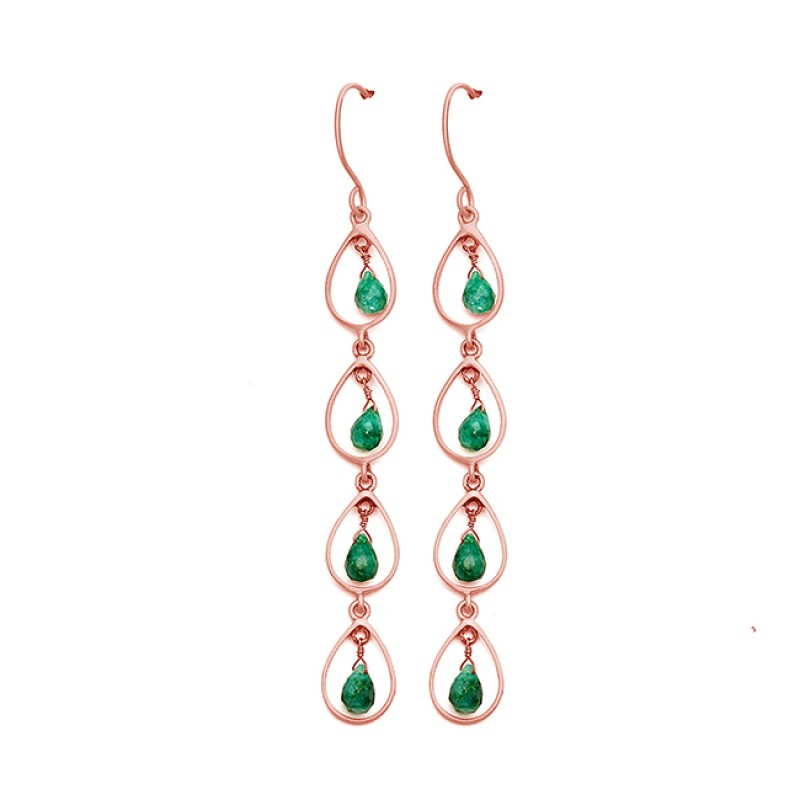Emerald Pear Drops Gemstone Handmade 925 Sterling Silver Gold Plated Dangle Earrings