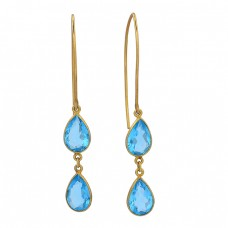 Blue Topaz Pear Shape Gemstone 925 Sterling Silver Gold Plated Dangle Earrings
