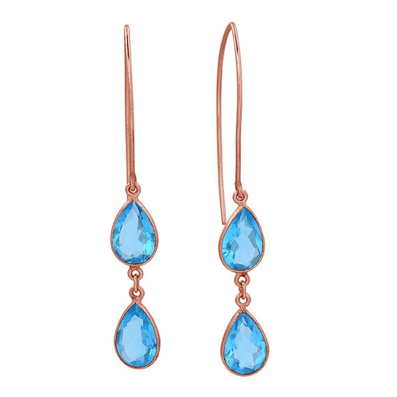 Blue Topaz Pear Shape Gemstone 925 Sterling Silver Gold Plated Dangle Earrings