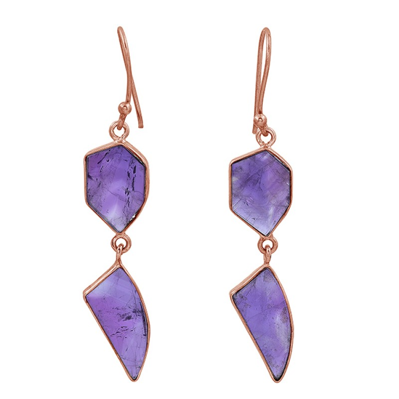 Amethyst Fancy Shape Gemstone 925 Sterling Silver Gold Plated Dangle Earrings