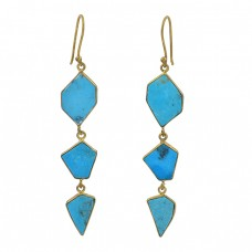 Fancy Shape Turquoise Gemstone 925 Sterling Silver Gold Plated Earrings