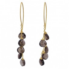 Smoky Quartz Heart Shape Gemstone 925 Sterling Silver Gold Plated Dangle Earrings