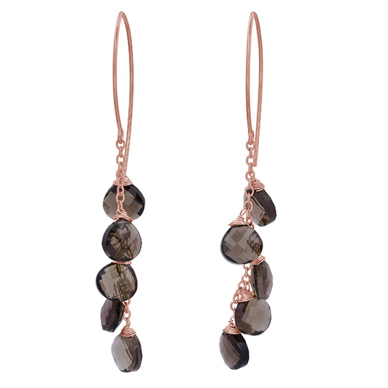 Smoky Quartz Heart Shape Gemstone 925 Sterling Silver Gold Plated Dangle Earrings