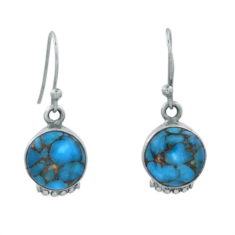 Blue Copper Turquoise Round Shape Gemstone 925 Sterling Silver Dangle Earrings