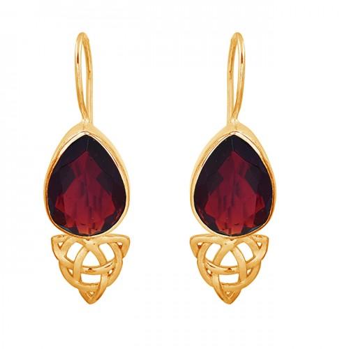 Pear Shape Garnet Gemstone 925 Sterling Silver Gold Plated Fixed Ear Wire Earrings