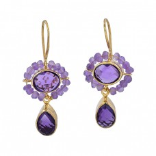 925 Sterling Silver Amethyst Gemstone Gold Plated Fixed Ear Wire Earrings