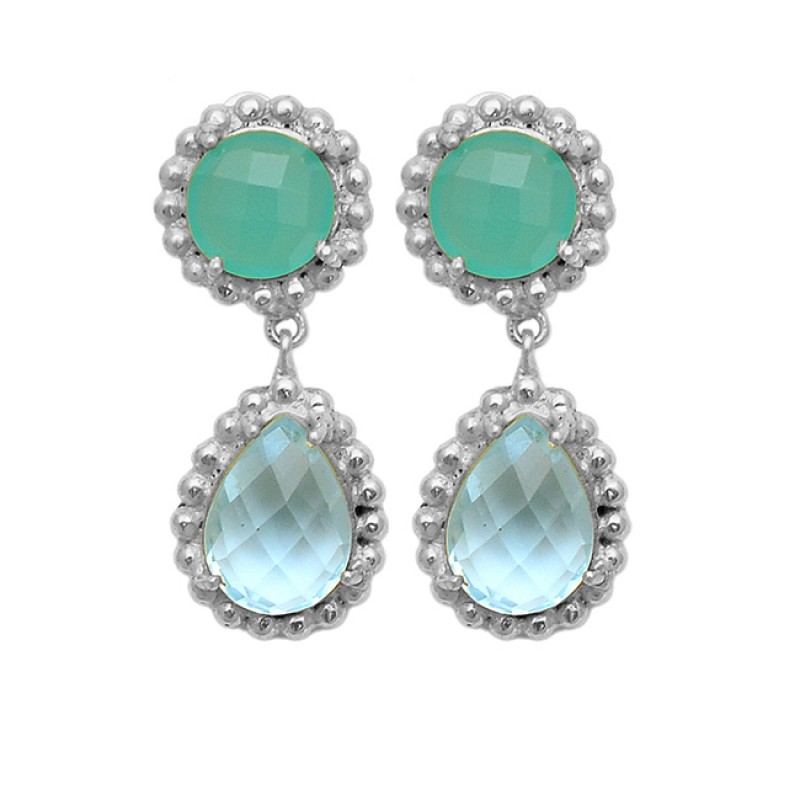 Vintage Aqua Chalcedony Blue Topaz Gemstone 925 Sterling Silver Gold Plated Stud Earrings