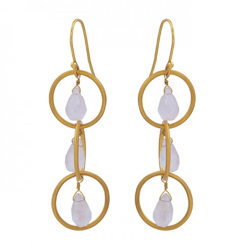 Pear Drops Shape Rose Quartz Gemstone 925 Sterling Silver Gold Plated Earrings