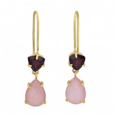 Garnet Rose Chalcedony Gemstone 925 Sterling Silver Gold Plated Fixed Ear Wire Earrings