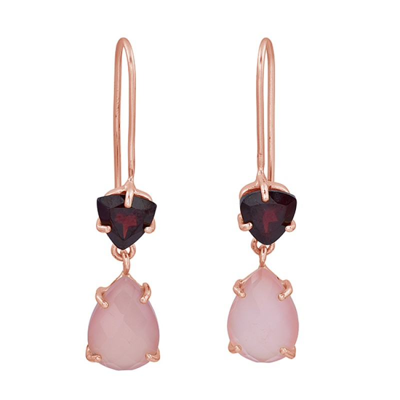 Garnet Rose Chalcedony Gemstone 925 Sterling Silver Gold Plated Fixed Ear Wire Earrings
