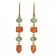 Prehnite Carnelian Gemstone 925 Sterling Silver Gold Plated Dangle Earrings