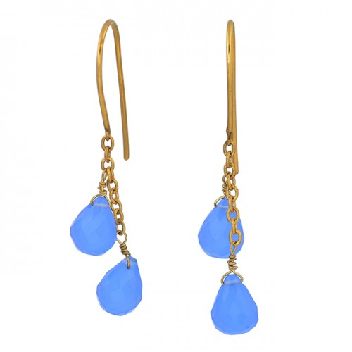 Blue Chalcedony Pear Drops Shape Gemstone 925 Sterling Silver Gold Plated Earrings