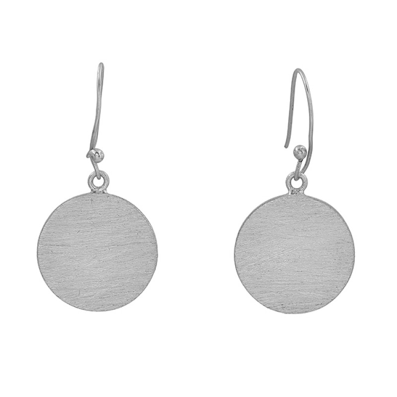Handcrafted Designer Plain 925 Sterling Silver Gold Plated Dangle Earrings