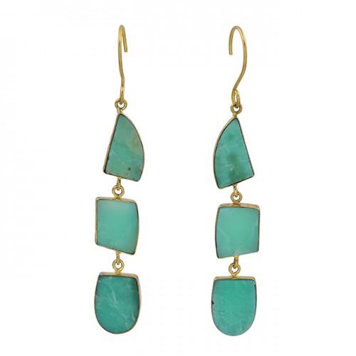 Chrysoprase Fancy Shape Gemstone 925 Sterling Silver Gold Plated Dangle Earrings