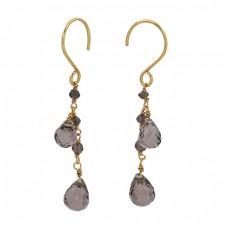 Smoky Quartz Pear Drops Shape Gemstone 925 Silver Gold Plated Dangle Earrings