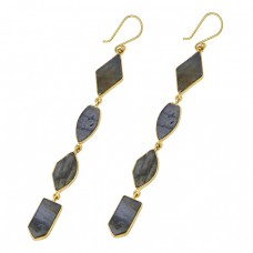 925 Sterling Silver Labradorite Gemstone Gold Plated Handmade Dangle Earrings