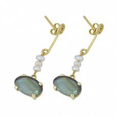 Labradorite Pearl Gemstone 925 Sterling Silver Gold Plated Stud Dangle Earrings