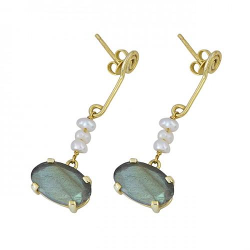 Labradorite Pearl Gemstone 925 Sterling Silver Gold Plated Stud Dangle Earrings