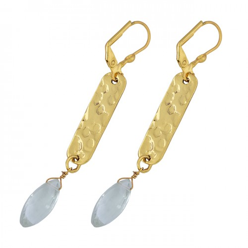 Green Amethyst Gemstone 925 Sterling Silver Gold Plated Clip-On Earrings