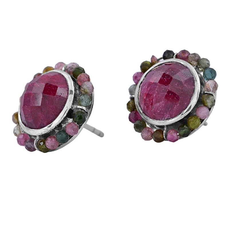 Ruby Multi Tourmaline Gemstone 925 Sterling Silver Handmade Designer Earrings
