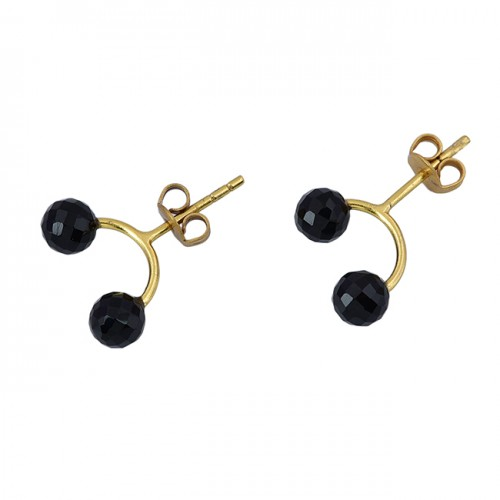 Black Onyx Round Balls Shape Gemstone 925 Sterling Silver Gold Plated Hoop Earrings