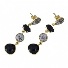 Blac Onyx Rutile Quartz Gemstone 925 Sterling Silver Gold Plated Bezel Setting Earrings