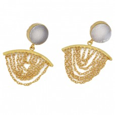 Round Shape White Druzy Gemstone 925 Sterling Silver Gold Plated Chain Earrings