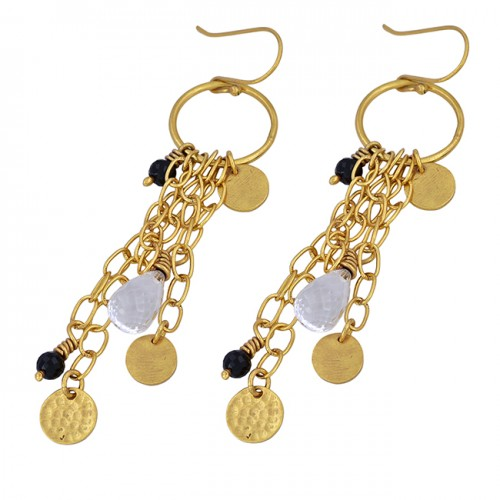 Crystal Black Onyx Gemstone 925 Sterling Silver Gold Plated Dangle Earrings