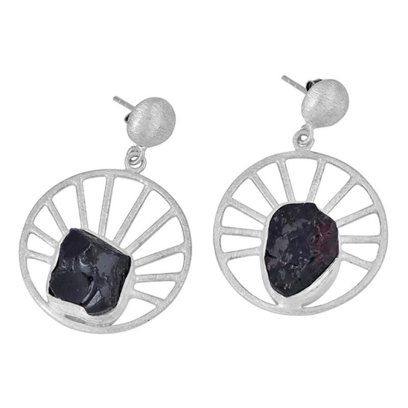 Garnet Rough Gemstone 925 Sterling Silver Handmade Stud Dangle Earrings