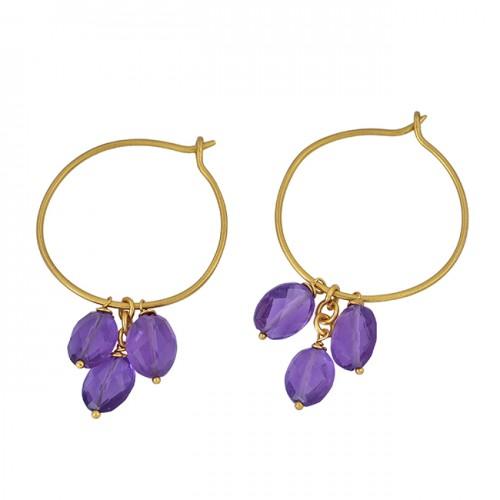 Amethyst Oval Shape Gemstone 925 Sterling Silver Gold Plated Hoop Earrings