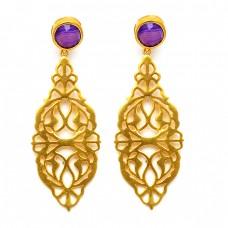 Filigree Designer Amethyst Round Gemstone 925 Sterling Silver Gold Plated Stud Earrings