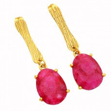 925 Sterling Silver Oval Shape Ruby Gemstone Gold Plated Stud Earrings