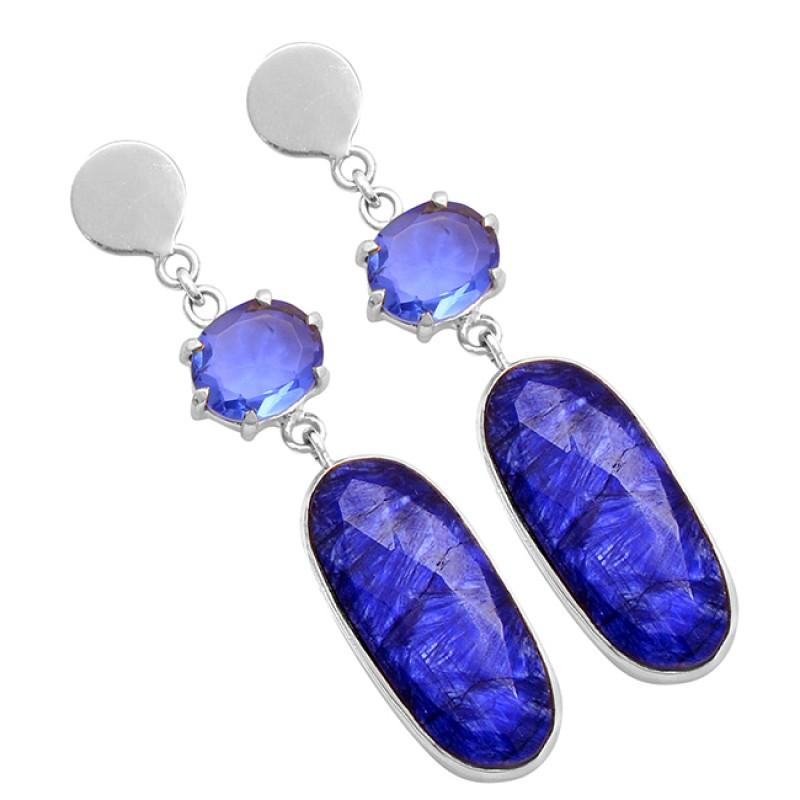 Oval Shape Gemstone 925 Sterling Silver Gold Plated Stud Dangle Earrings
