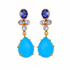 Topaz Quartz Chalcedony Gemstone 925 Sterling Silver Gold Plated Stud Earrings