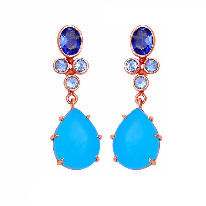 Topaz Quartz Chalcedony Gemstone 925 Sterling Silver Gold Plated Stud Earrings