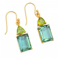 Peridot Green Amethyst Gemstone 925 Sterling Silver Gold Plated Dangle Earrings