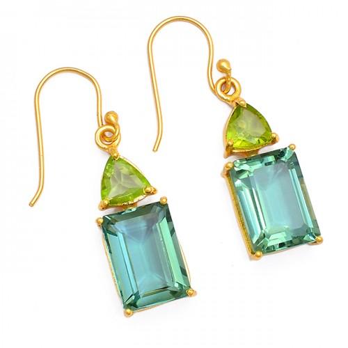 Peridot Green Amethyst Gemstone 925 Sterling Silver Gold Plated Dangle Earrings