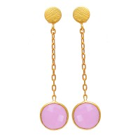 Round Shape Rose Chalcedony Gemstone 925 Sterling Silver Gold Plated Earrings