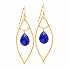 Pear Drops Shape Sapphire Gemstone 925 Sterling Silver Gold Plated Dangle Earrings