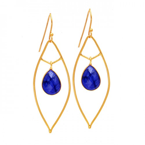 Pear Drops Shape Sapphire Gemstone 925 Sterling Silver Gold Plated Dangle Earrings
