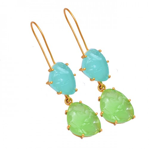 925 Sterling Silver Chalcedony Rough Gemstone Gold Plated Dangle Earrings