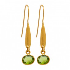 Oval Shape Peridot Gemstone 925 Sterling Silver Gold Plated Fixed Ear Wire Earrings